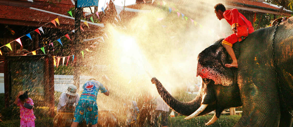 an elephant sprays water amongst Songkran revellers as part of Thai New Year celebrations